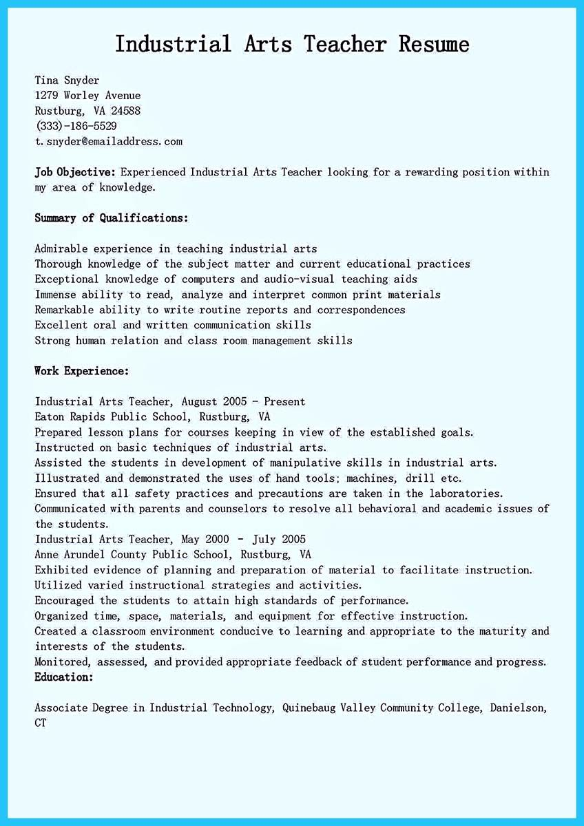 If You Are Seeking A Job As An Art Teacher One Of The Requirements Is Making Resume To Make Convincing Need Explain I