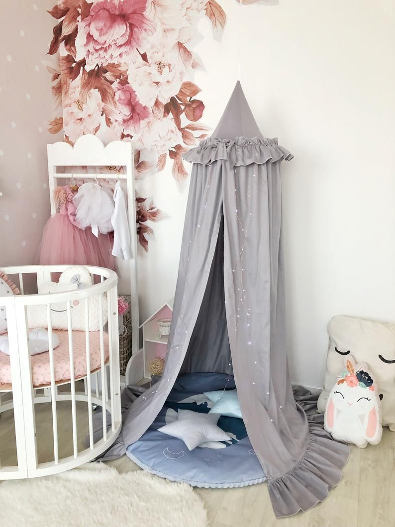 Photo of Ruffle Bow Dow Cabioy Crib Canopy Tent Blush Pink Canopy Nursery Tent Play Tent