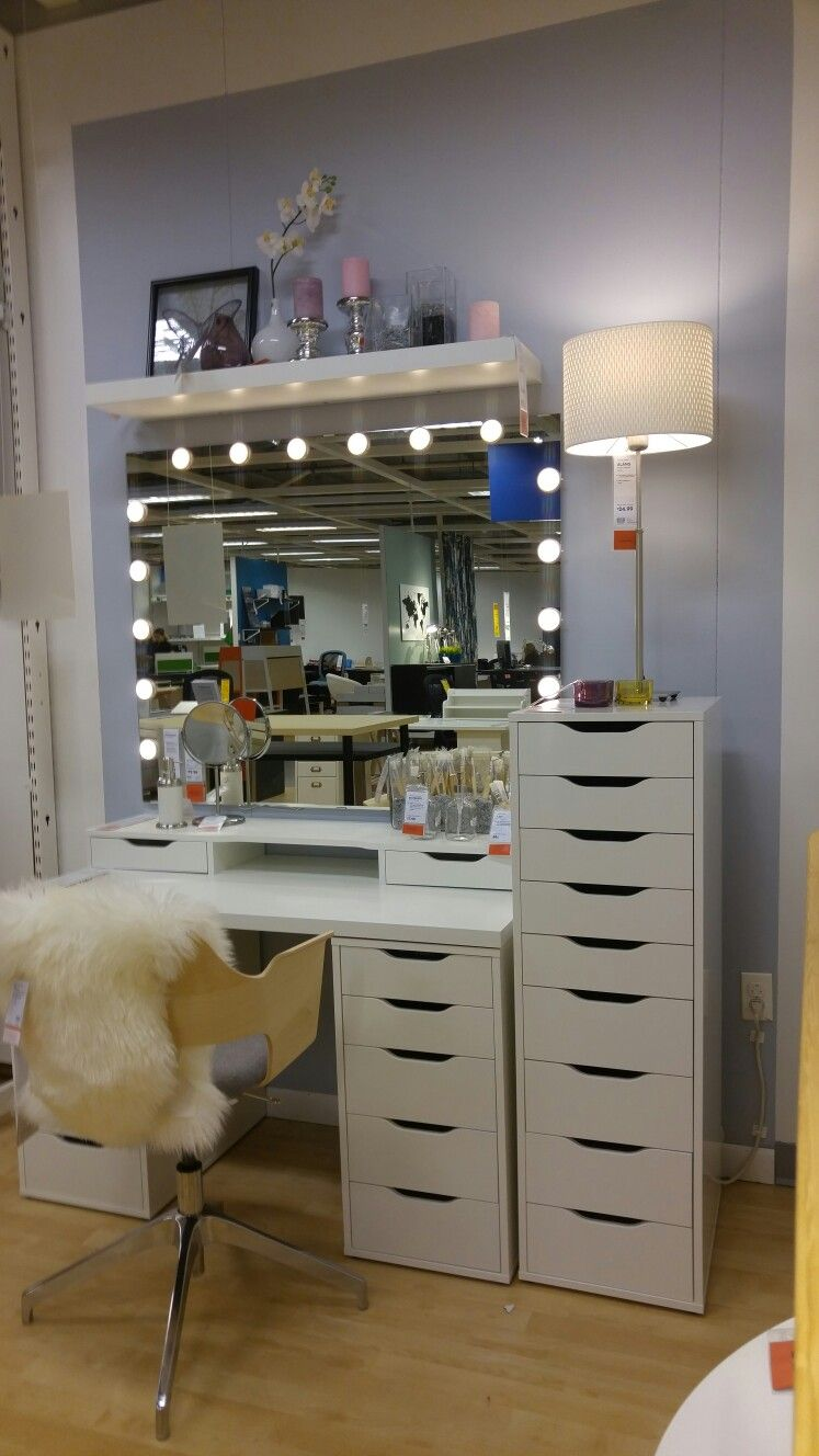Alex drawer units godmorgan mirror dioder lights makeup station