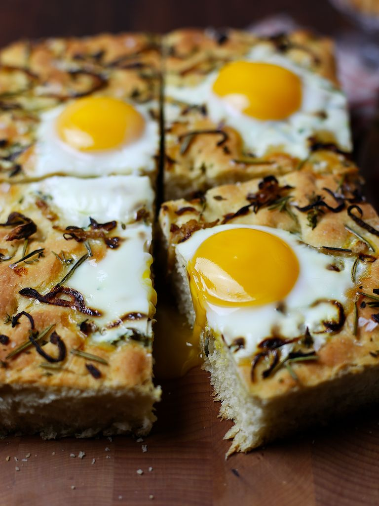 Herb caramelized onion and fennel breakfast focaccia with