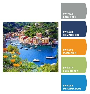 Paint colors from Chip It! by Sherwin-Williams. Portofino, Italy. ChipCard by Reni Apostolova.