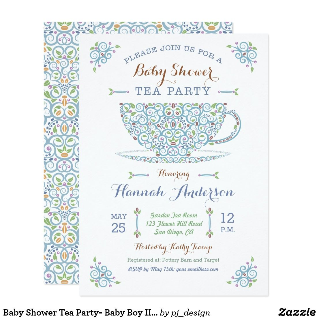 Baby Shower Tea Party- Baby Boy II Invitation | Baby shower tea, Tea ...