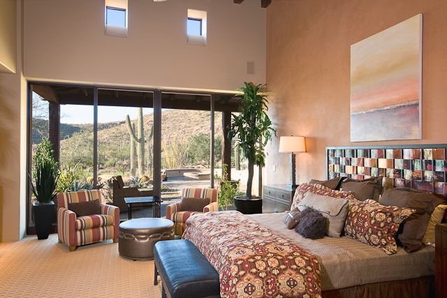 tucson custom home hacienda floor plan rustic bedroom