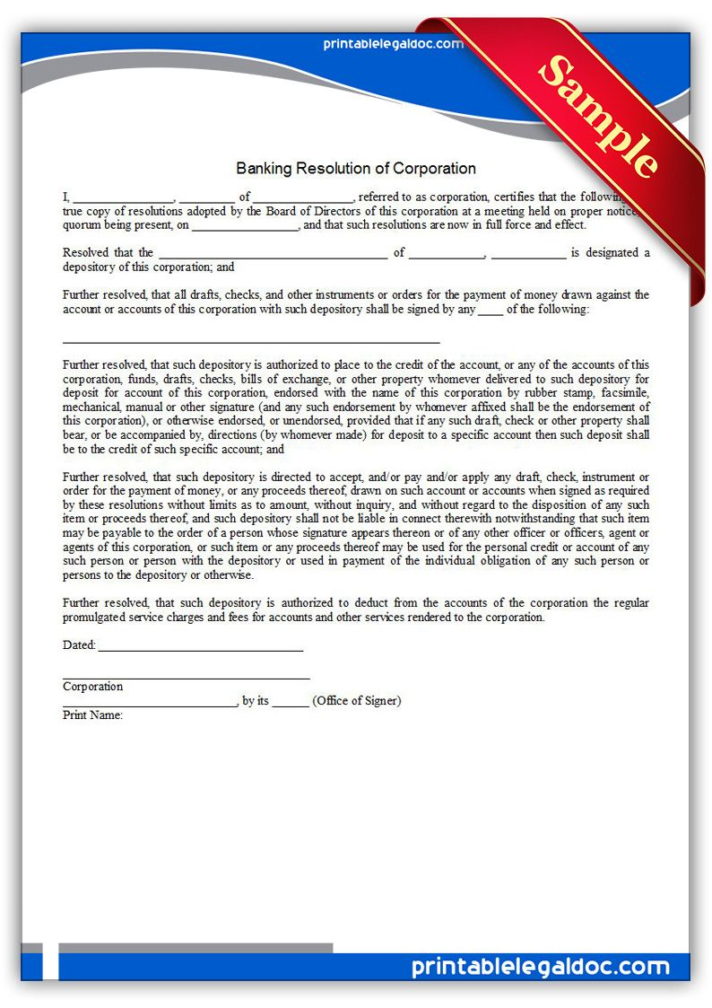 Free Printable Banking Resolution Of Corporation  Sample