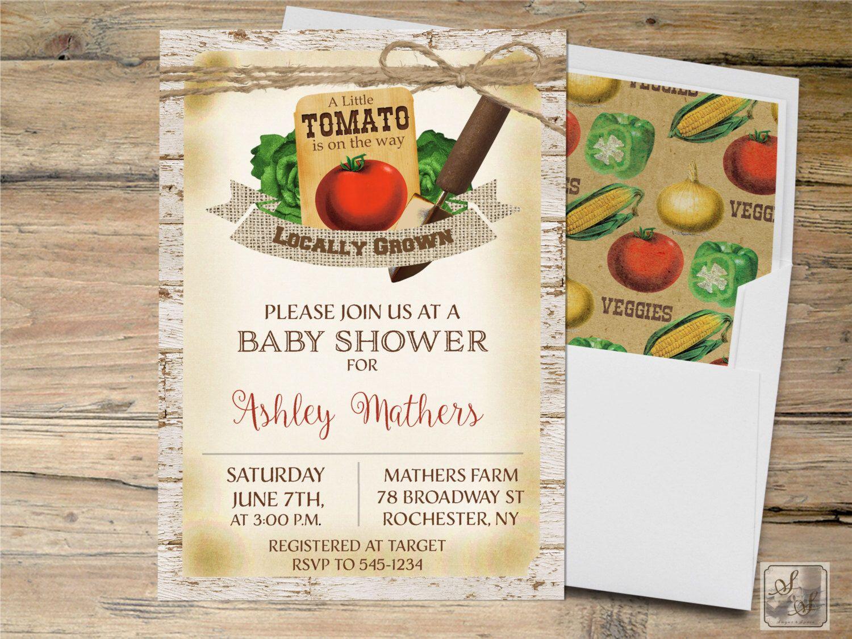 Rustic Baby Shower Invitation, Garden Baby Shower Invitation, Farm ...