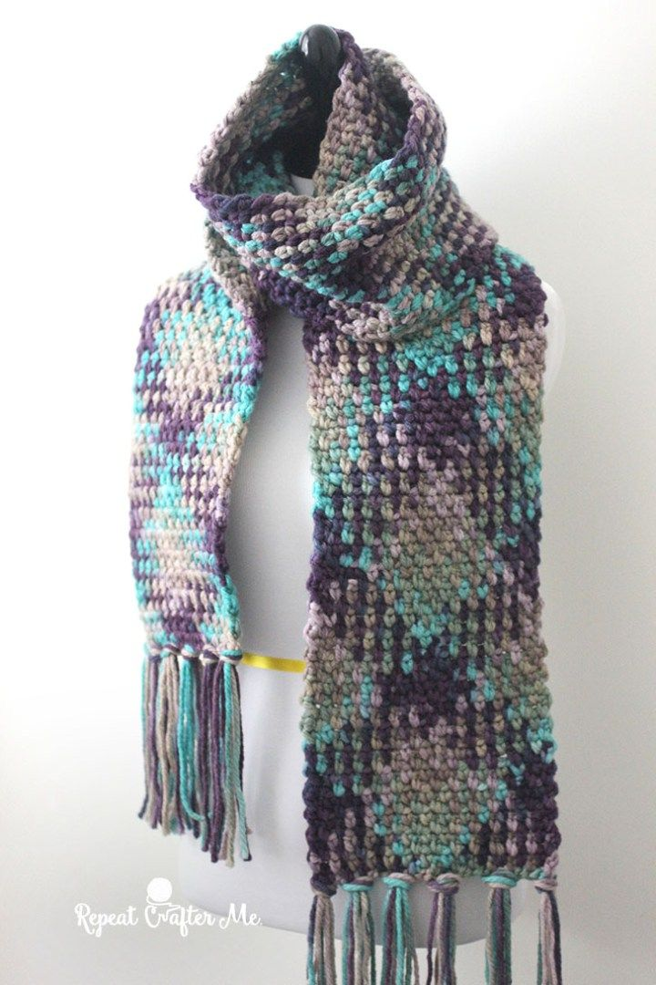 Crochet Planned Color Pooling Scarf tutorial at Repeat Crafter Me.
