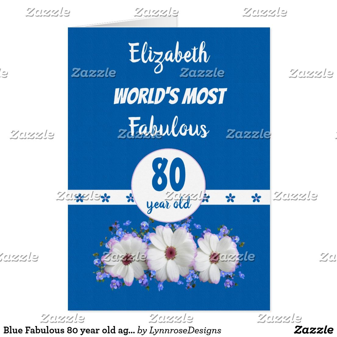 Blue fabulous 80 year old age flowers birthday card flower birthday blue fabulous 80 year old age flowers birthday card bookmarktalkfo Choice Image