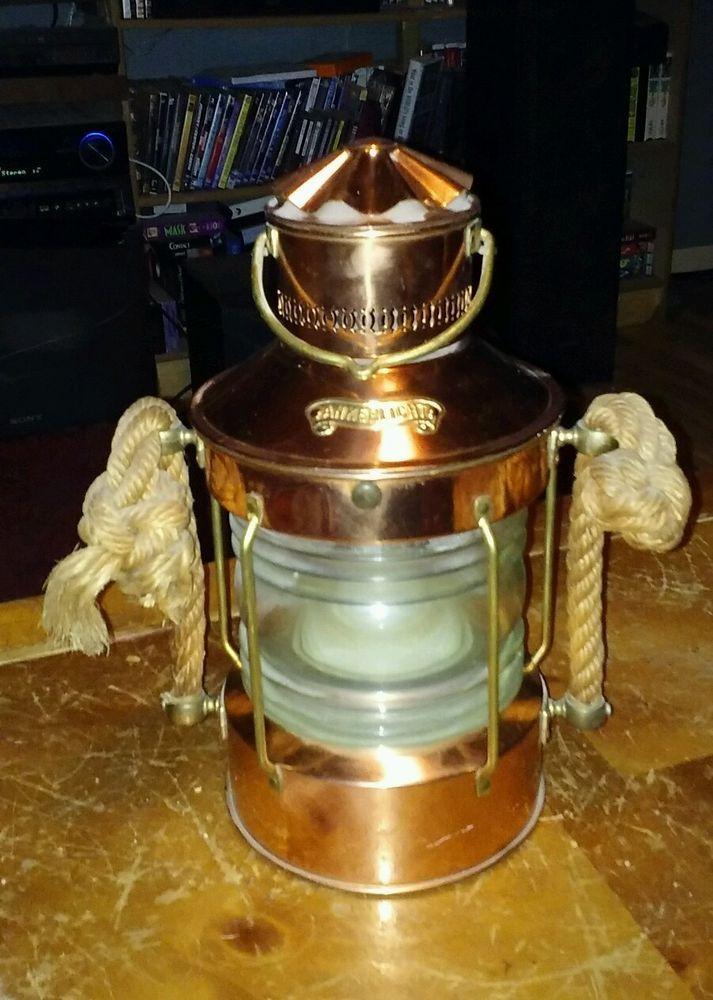 """X large Ankerlicht Brass Ships Lantern 14"""" x 7"""" diam, NAUTICAL SWAG oil lamp #Ankerlicht"""