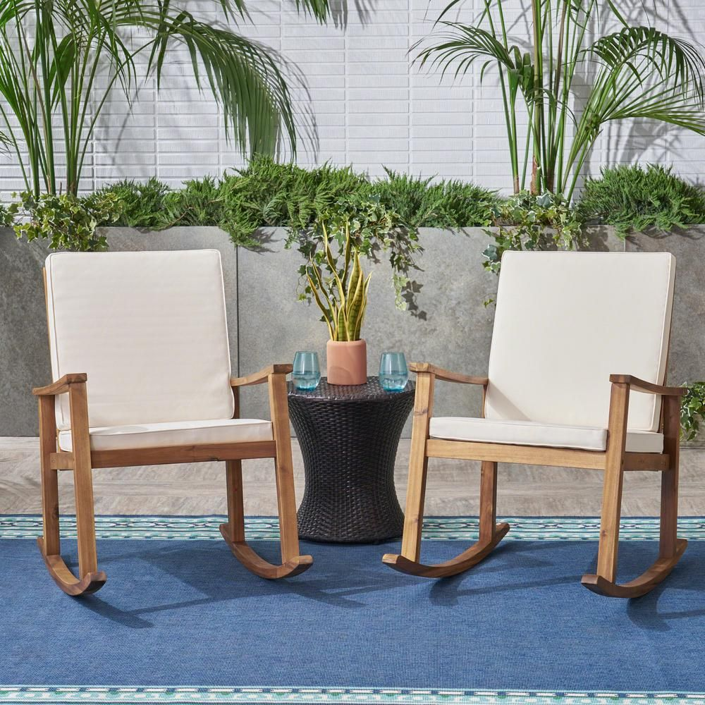 Noble House Candel Teak Brown Wood Outdoor Rocking Chair With Cream Cushions 2 Pack In 2020 Outdoor Rocking Chairs Reclining Rocking Chair Rocking Chair