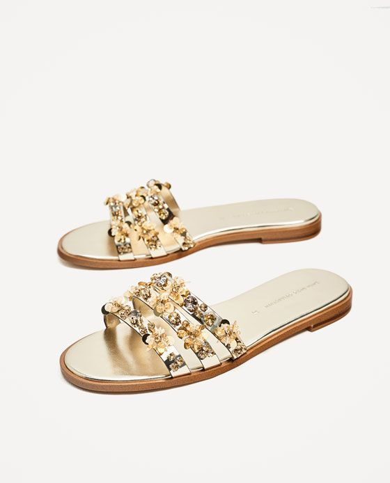 a7fb7d2058b038 Image 4 of GOLD BEADED SLIDES from Zara