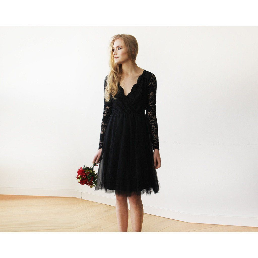 Black tulle u lace midi long sleeves dress products