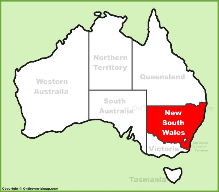 New South Wales NSW location on the Australia Map Maps