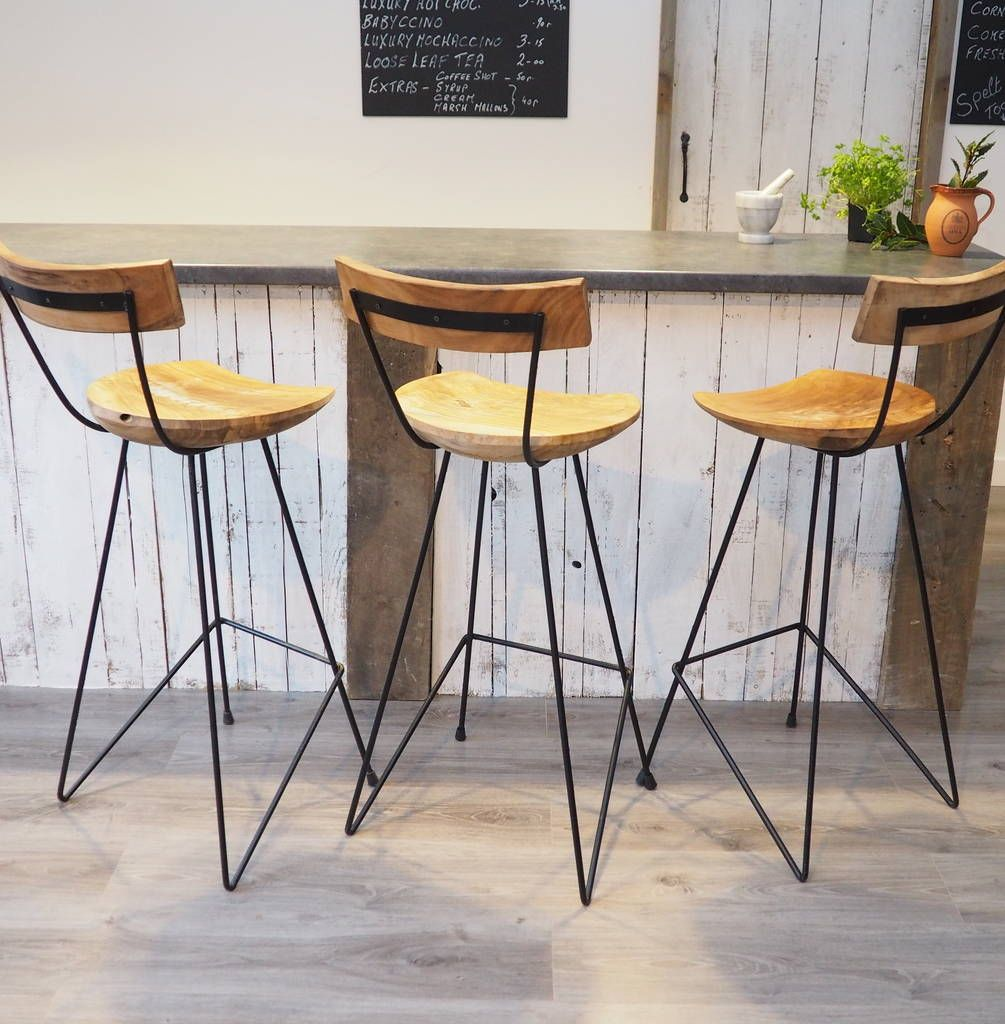 Kitchen Stools Uk Only: Industrial Wood Bar Stool With Backrest