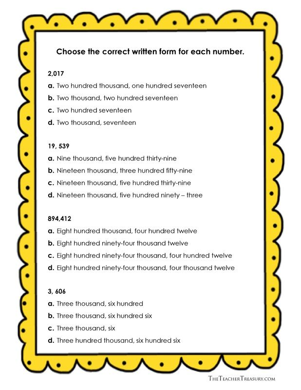 Reading And Writing Numbers In Expanded Form Standard Form And Wri