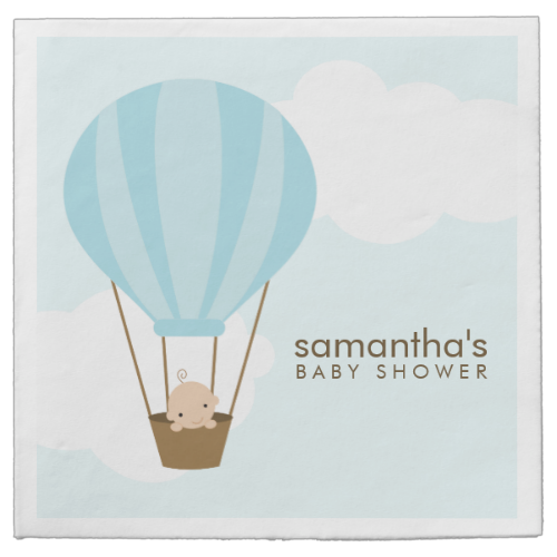 Baby In Blue Hot Air Balloon Baby Shower Napkin Hot Air Balloons