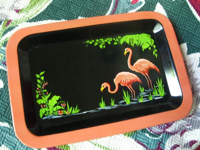 Vintage 1940s pink flamingo tropical  tip tray. $12.00, via Etsy.
