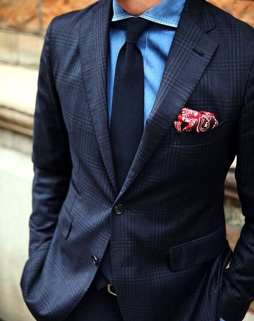Navy Tie with Paisley Pocket
