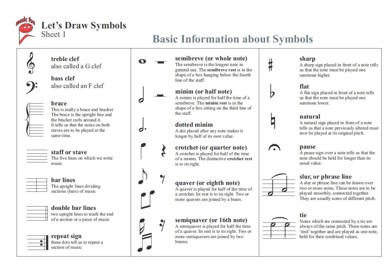 Choir Terms Worksheet
