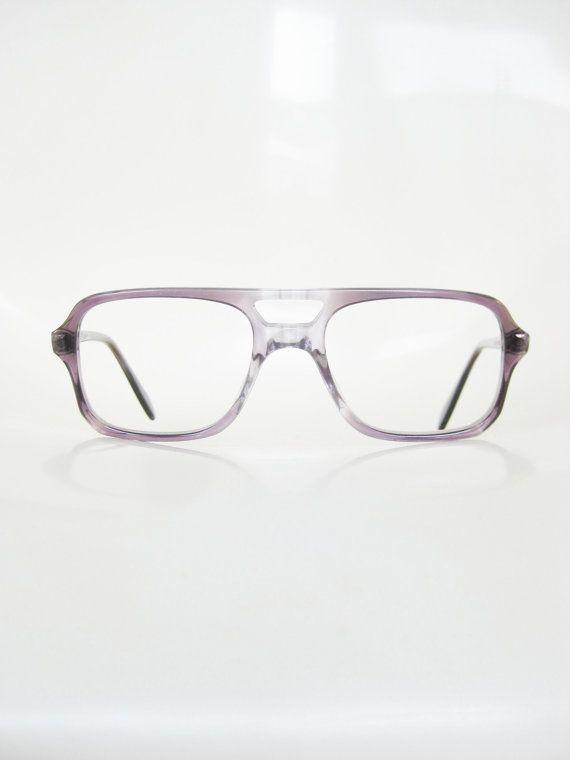 62128e5aa5b Vintage 1970s Aviator Eyeglasses Mens Guys Glasses Grey Charcoal Smoke Gray  70s Seventies Indie Hips