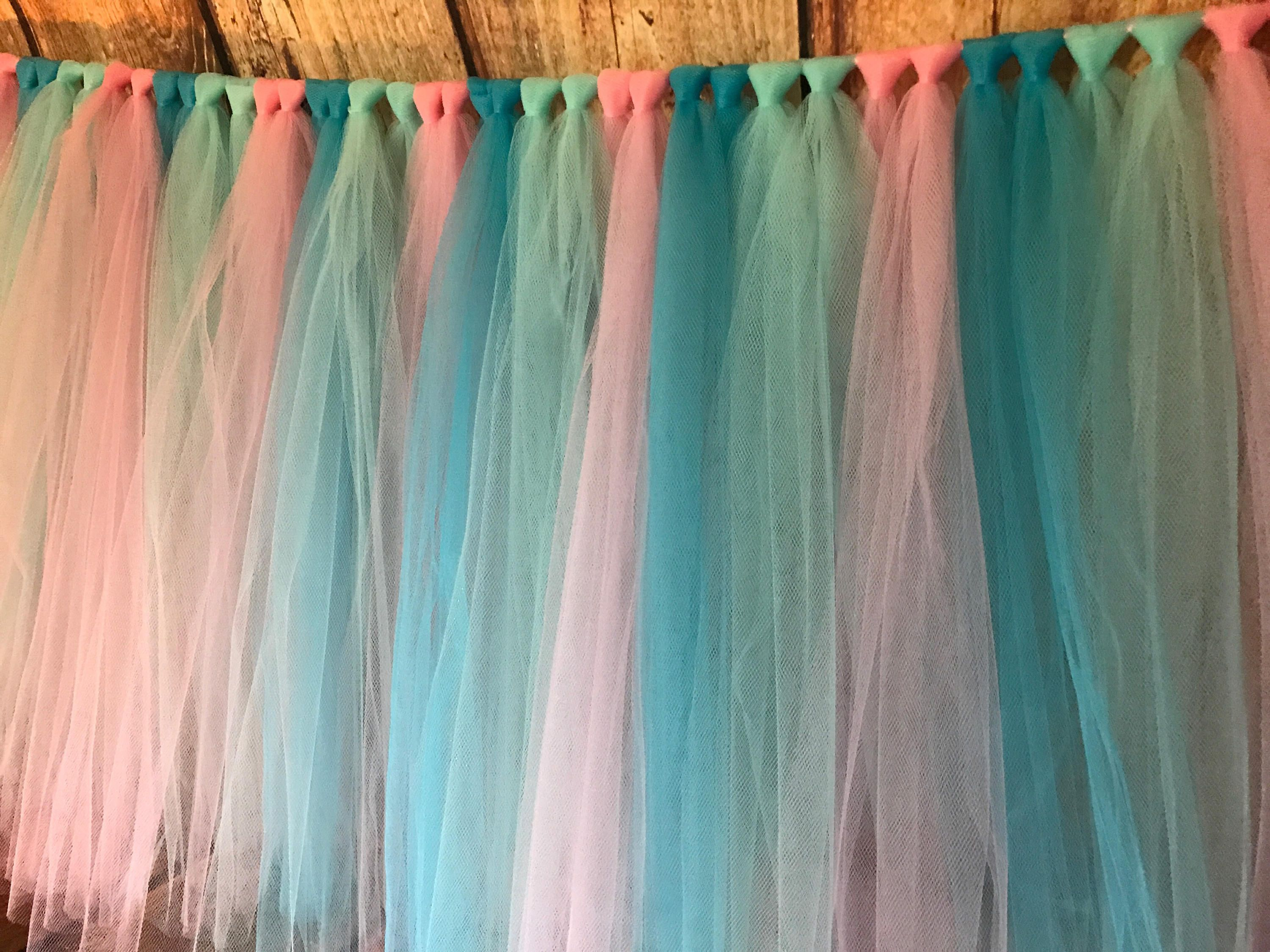 Tulle Table Skirt Pink Turquoise Aqua And