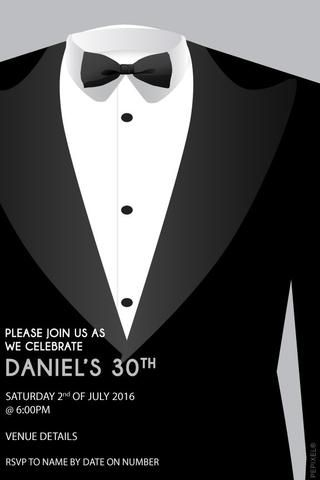 30th Birthday Party Invitations, Tuxedo Invitation ...