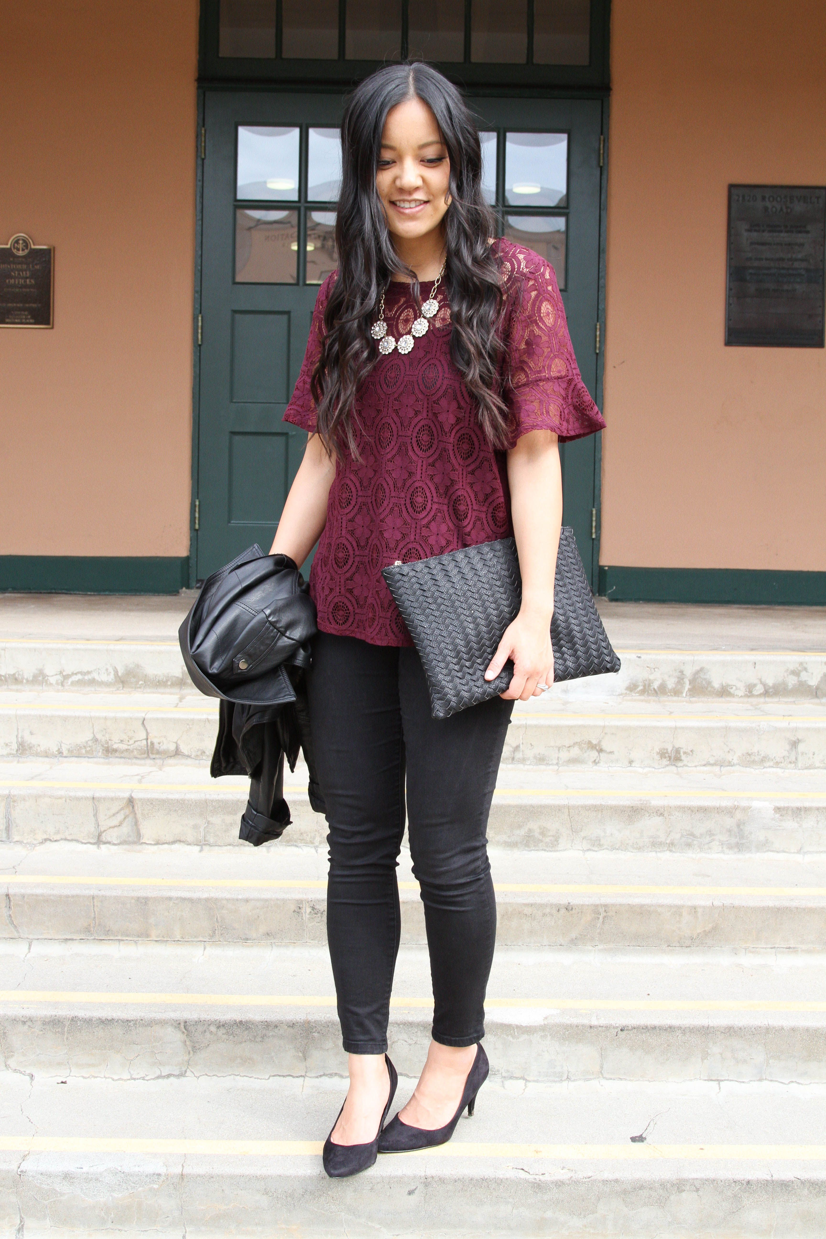 017cc581589 Maroon Lace Blouse + Black Skinnies + Black Clutch + Pumps Black Pants Outfit  Dressy