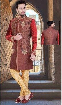 Maroon Color Velvet Jute Groom Readymade Wedding Sherwani Fh492175511 Sherwani Wedding Mens Fashion Boutique Sherwani Men Dress Indian Wedding Wear