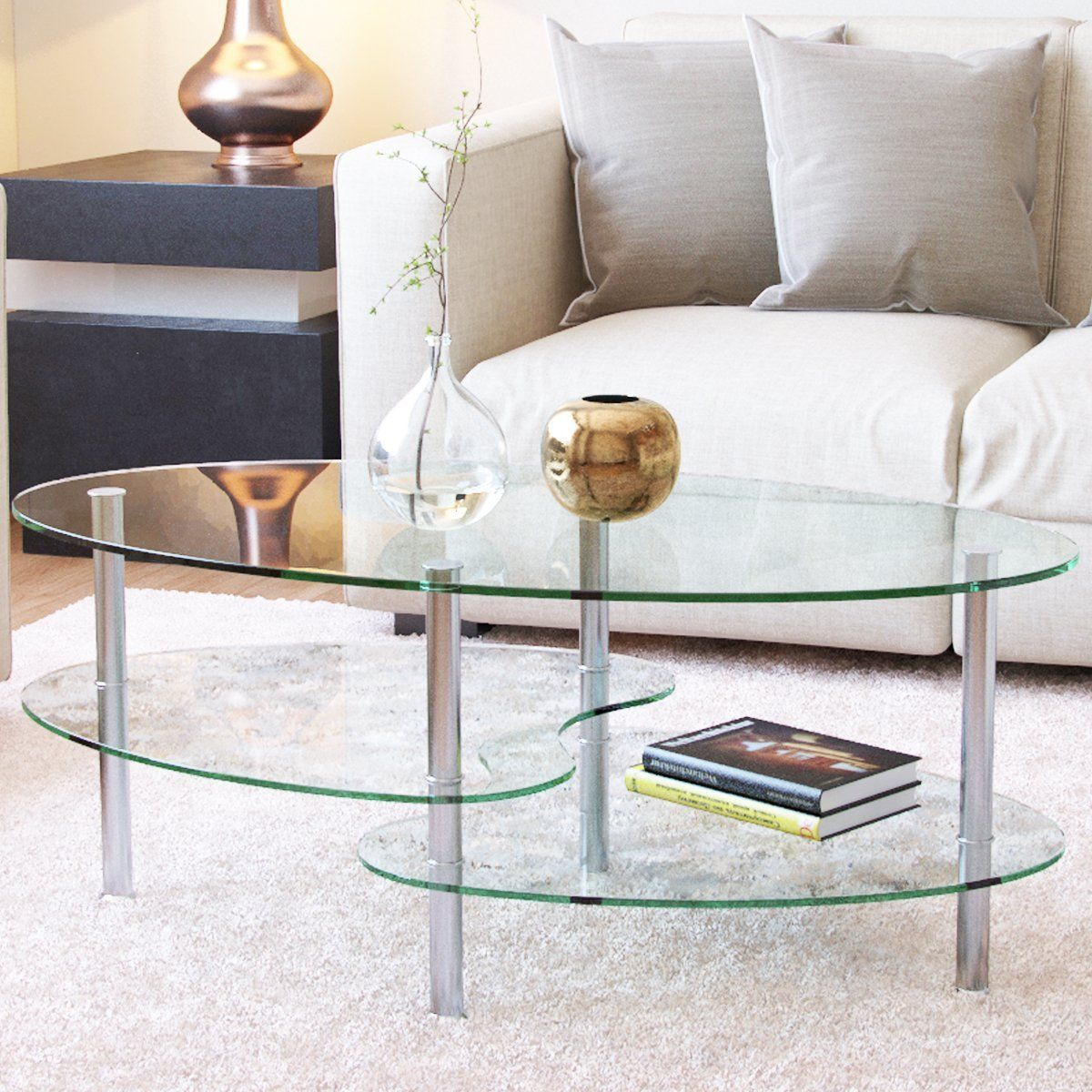 Ryan Rove Ashley 38 Inch Oval Two Tier All Clear Glass Coffee Table Living Room Coffee Table Living Room Table Living Table [ 1200 x 1200 Pixel ]