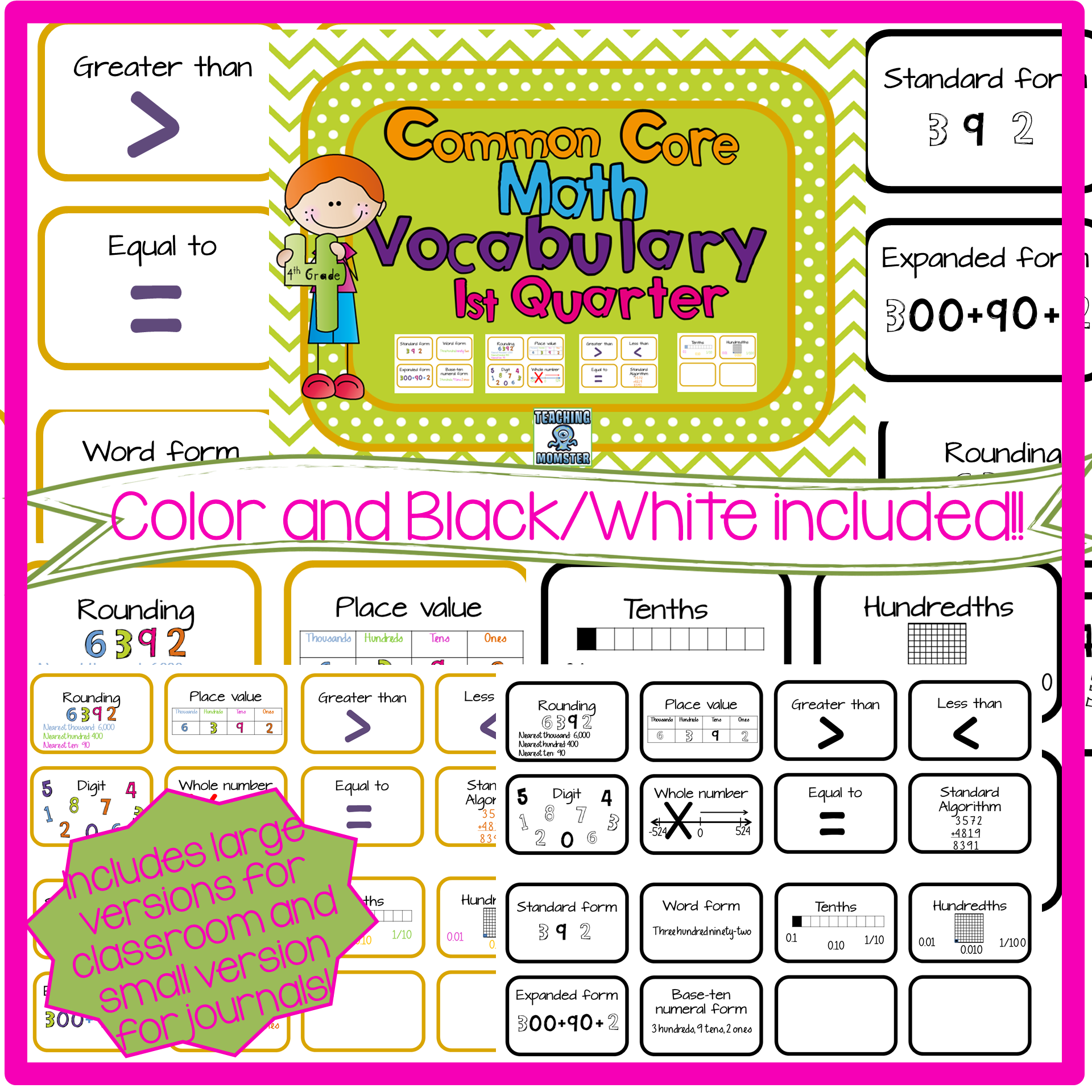4th Grade Common Core Vocabulary Cards Quarter 1