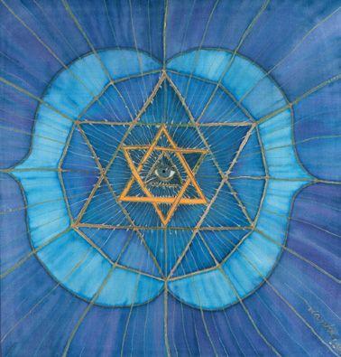 De geest of spiritualiteit die ons helpt naar binnen te keren en ons inzicht verschaft. Deze schildering op zijde verbeeld het mannelijke en vrouwelijke element in ons leven, dat samengevoegd dienst te worden en ons HEEL maakt.