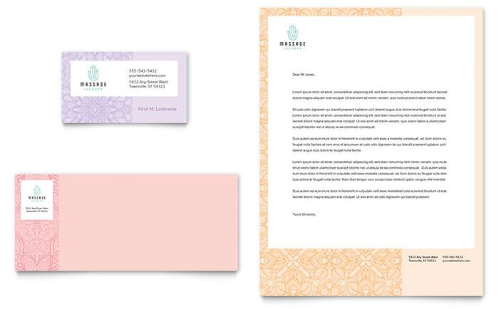 Massage Business Card And Letterhead Template Design By Stocklayouts Free Business Card Templates Business Card Template Create Business Cards