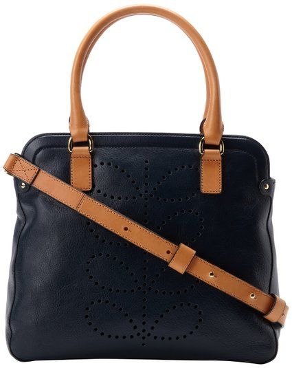 0d23de77313254 Orla Kiely Structured Stem Leather Small Shoulder Bag,Navy,One Size ...