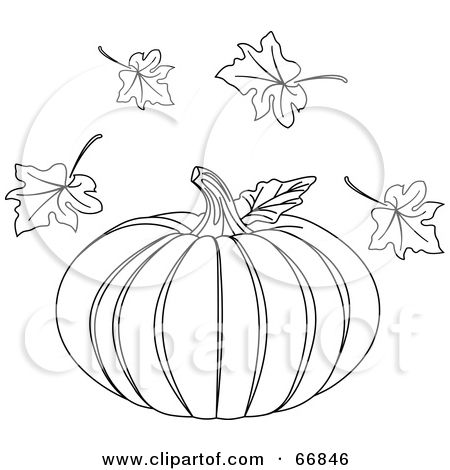 Royalty Free Rf Clipart Illustration Of A Black And White Halloween Pumpkin With Autumn Leaves By Pushkin 66846 Clip Art Halloween Pumpkins Free Clip Art