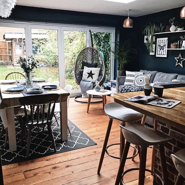 Hanging Chair Aldi Massage Reviews Farrow And Ball Hague Blue Walls Dining Table Monochrome Furnishings In This Open Plan Kitchen Family Room Space