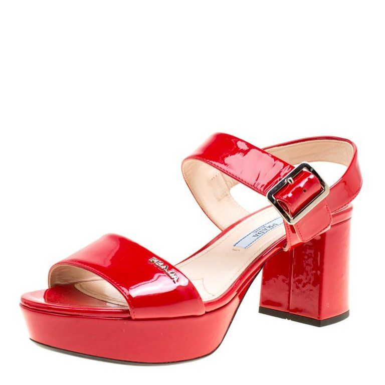 882b4efe33e Prada Red Patent Leather Ankle Strap Block Heel Sandals Size 35 in ...