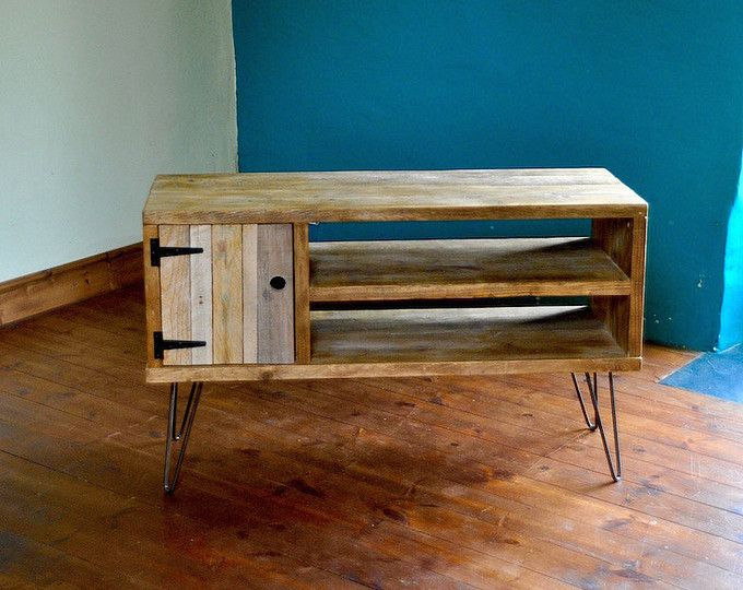 Reclaimed wood Sideboard Rustic Industrial TV Media Stand Scaffold ...