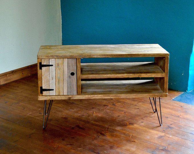 Reclaimed wood sideboard rustic industrial tv media stand for Muebles castor