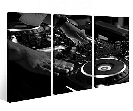 Leinwandbild 3 Tlg Musik DJ Disco Mischpult House Leinwand Bild - wohnzimmer schwarz rot weiss