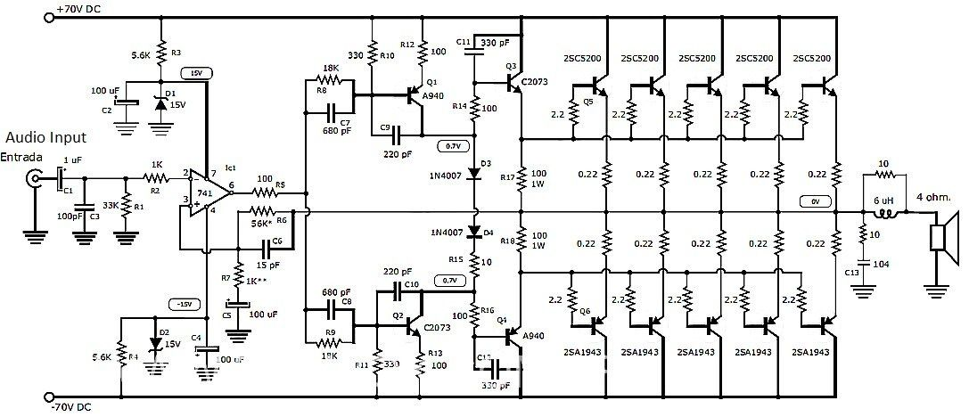 this is the circuit design of 1000w stereo audio amplifier  it is a very good design to assemble