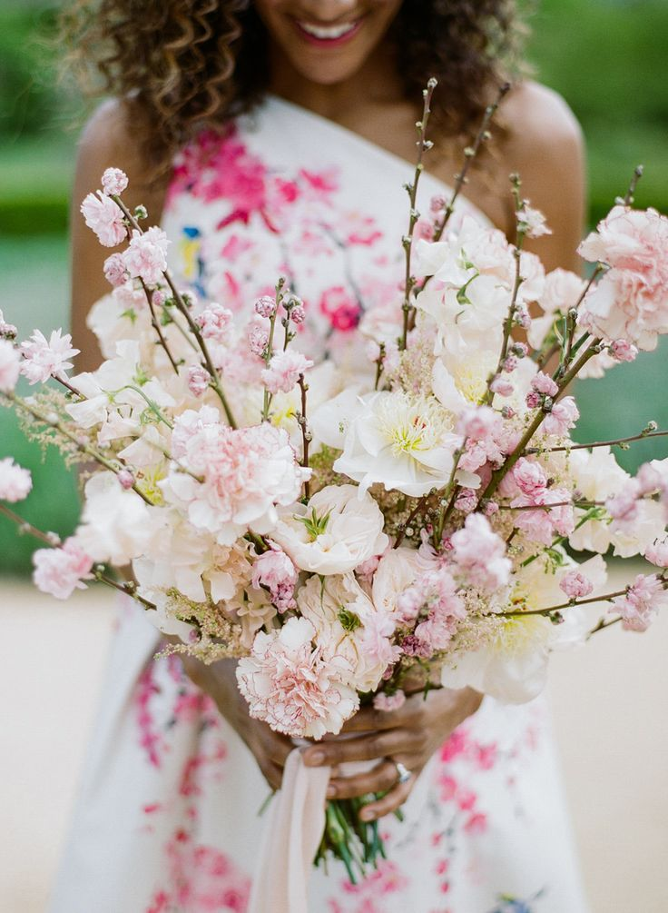 A Cherry Blossom Printed Dress For The Ultimate Spring Inspiration Spring Wedding Bouquets Cherry Blossom Wedding Spring Wedding Flowers