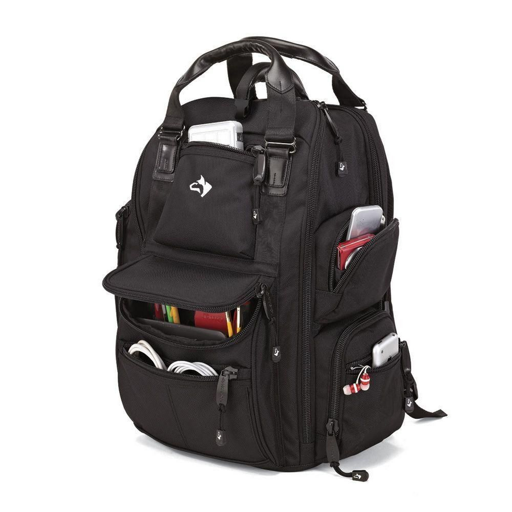 da9fd66cc5 Husky 18 In. 18 Pocket Black Fabric Tool Bag Storage Day Pack Backpack   Husky