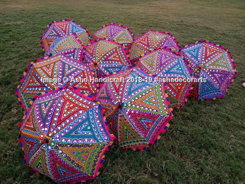 Traditional Handmade Indian Home Wedding Decorative Sun Umbrella Parasol Multi