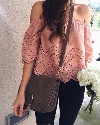 Pink eyelet off the shoulder top. Feminine style. Pink off shoulder top with black distressed skinny jeans. Chloe Hanna Bag. Spring style. Spring outfit. Pink spring outfit
