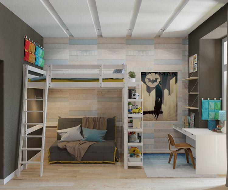Design Hochbett Modern Holz Wandverkleidung Regale Sofa Schreibtisch