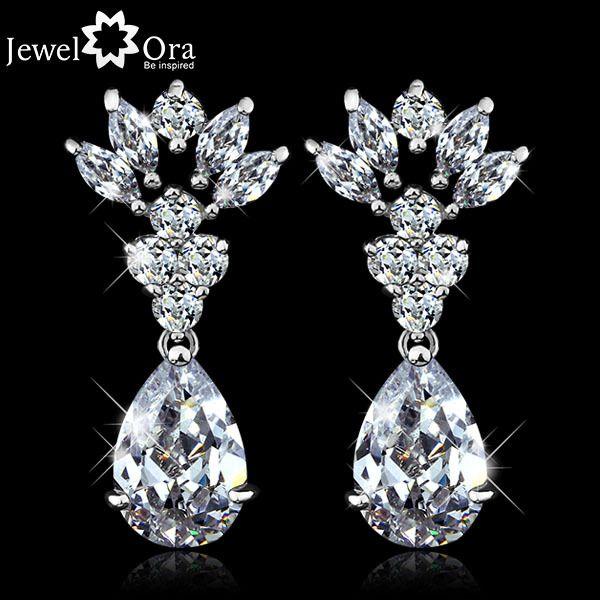 Find More Drop Earrings Information about Wedding Charming Cubic Zirconia  Earrings Elegant Jewelry rhodium plated Lady Drop Earrings For  Women (JewelOra  #EA101346),High Quality Drop Earrings from JewelOra on Aliexpress.com
