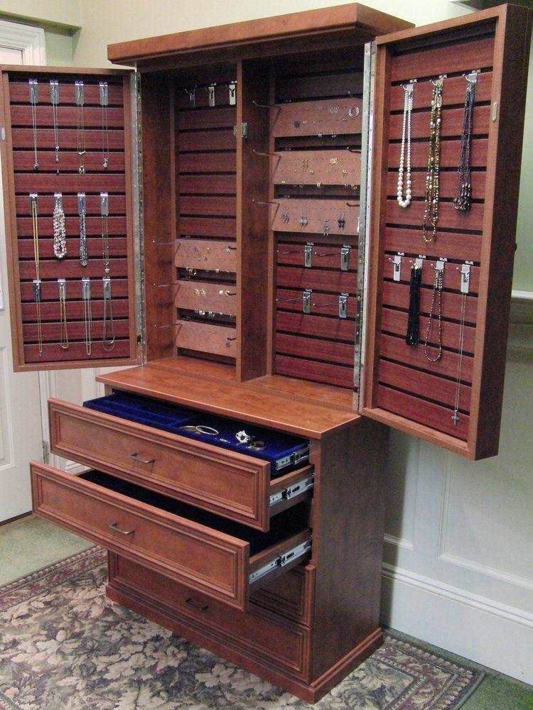 Custom Jewelry Cabinet With Adjustable Hooks.