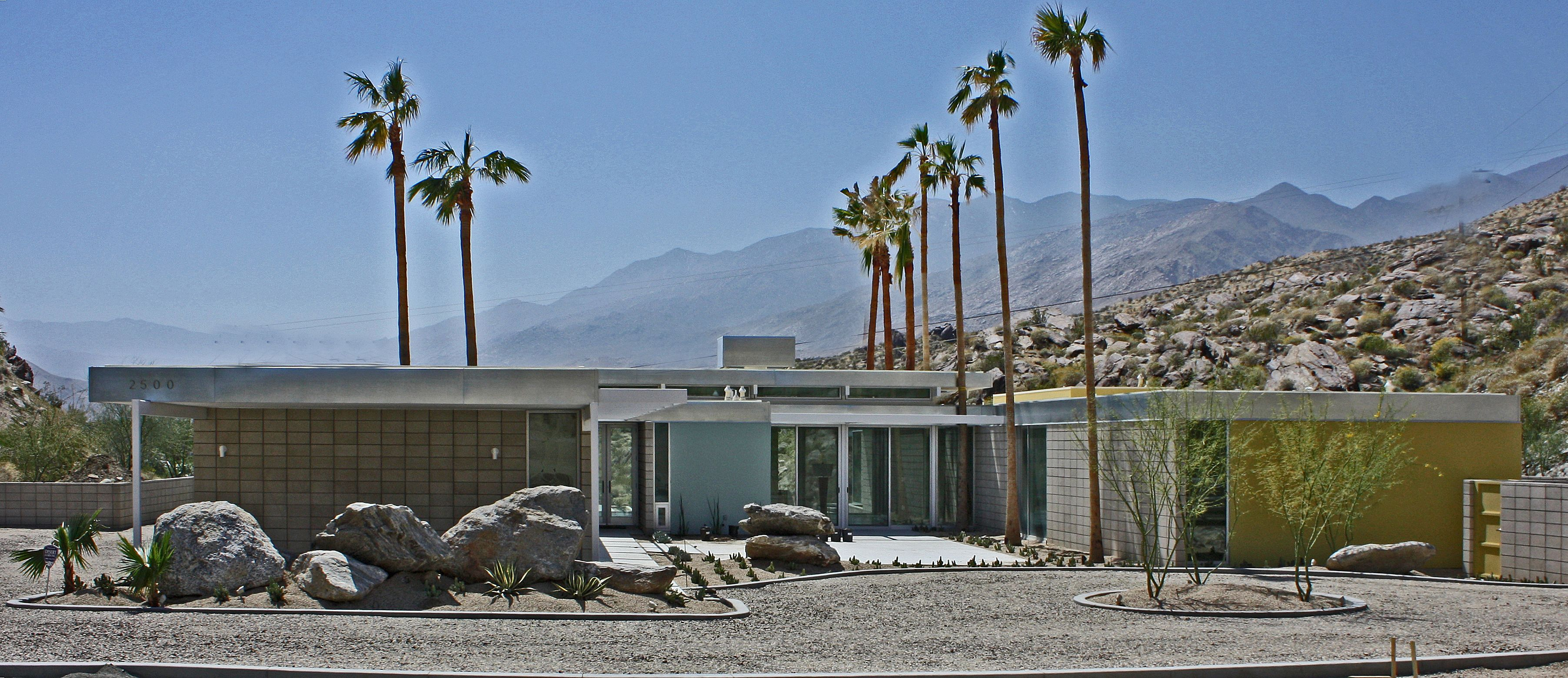 FRONT HOME modern home palm springs desert landscape round pool