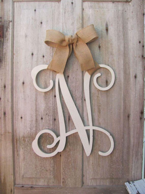 Wood Initial Door Wreath W Ribbon Front Door Wreaths Monogram Door Hanger Monogrammed Wreath Front Door Letters Outdoor Wreath Decor Monogram Door Hanger Initial Door Hanger Wooden Monogram