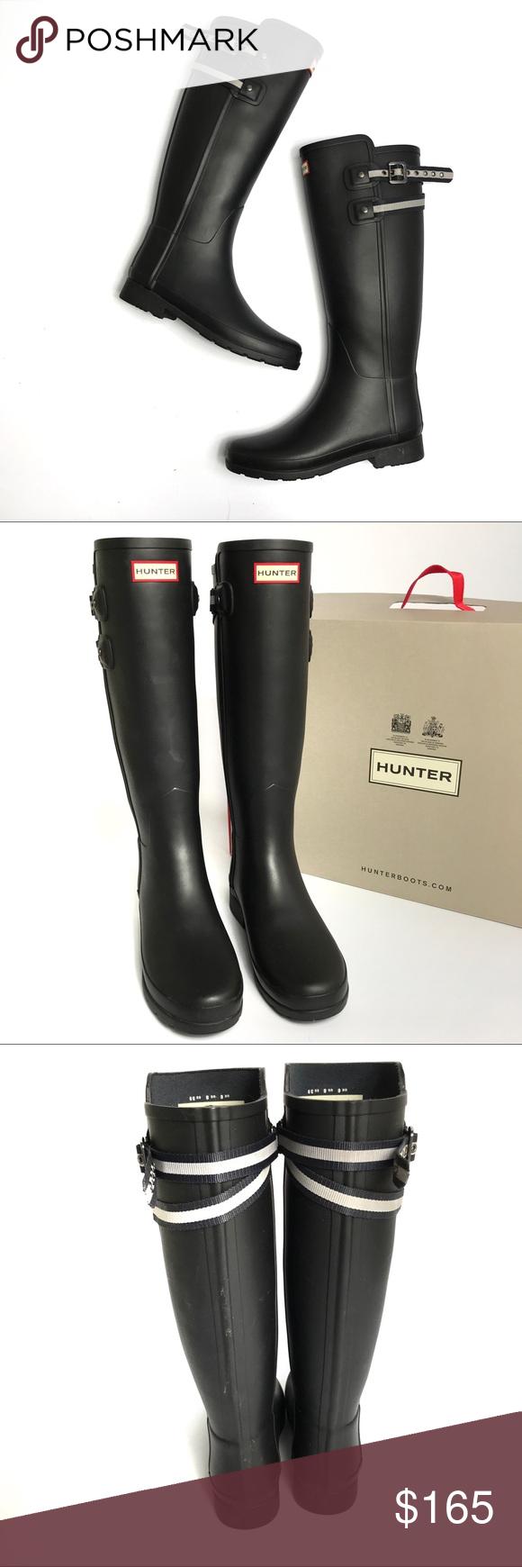 41f20cbf3f2f Hunter Refined Black Matte Webbing Strap Rain Boot Excellent condition
