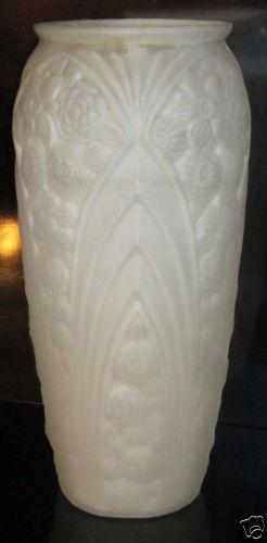 Vintage Art Deco Frosted Glass Vase France 12 5 034 Tall Big Amp